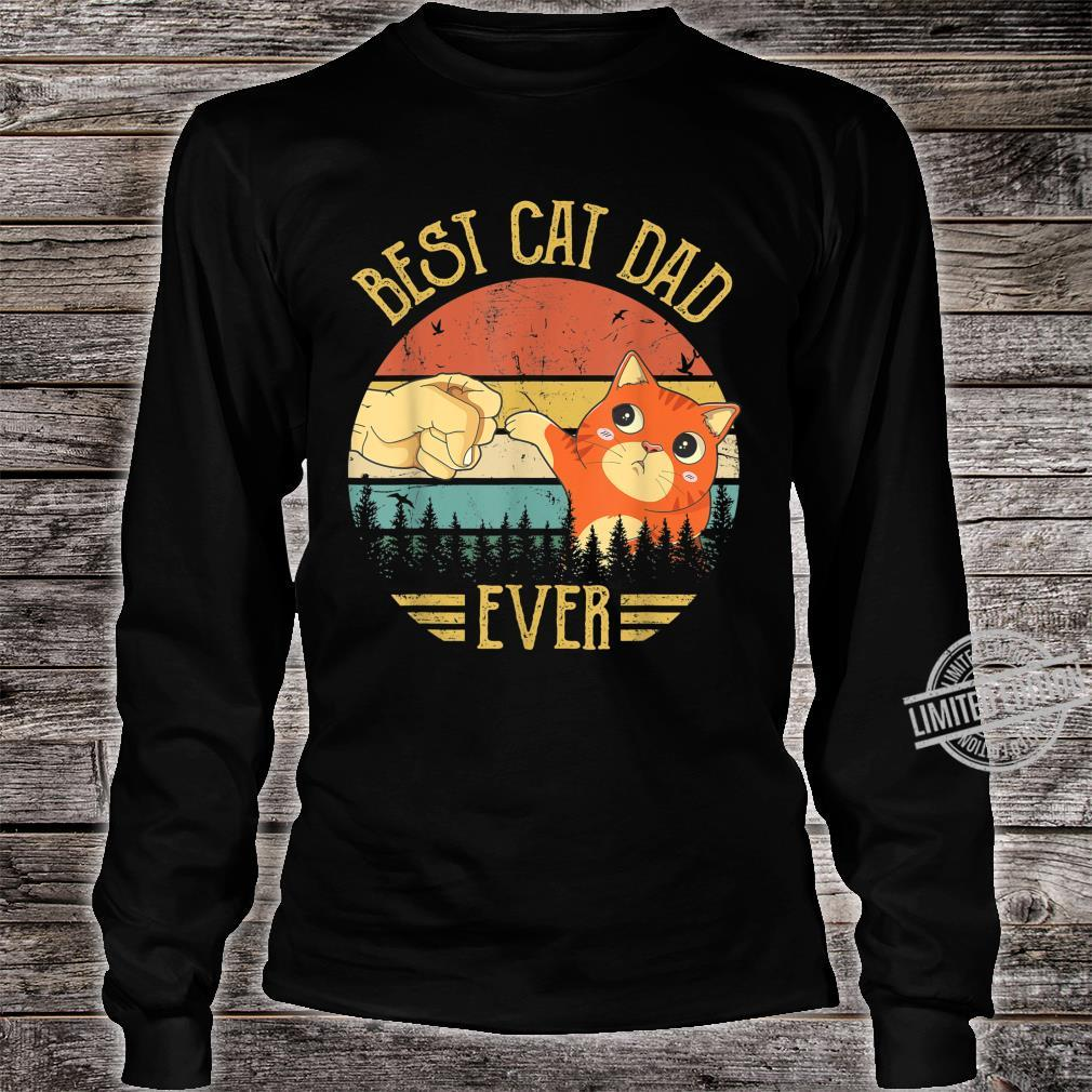 Best Cat Dad Ever Paw Fist Bump Fit Vintage Retro Shirt long sleeved