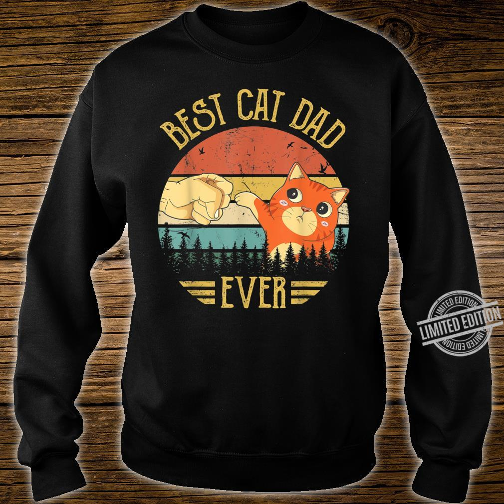 Best Cat Dad Ever Paw Fist Bump Fit Vintage Retro Shirt sweater
