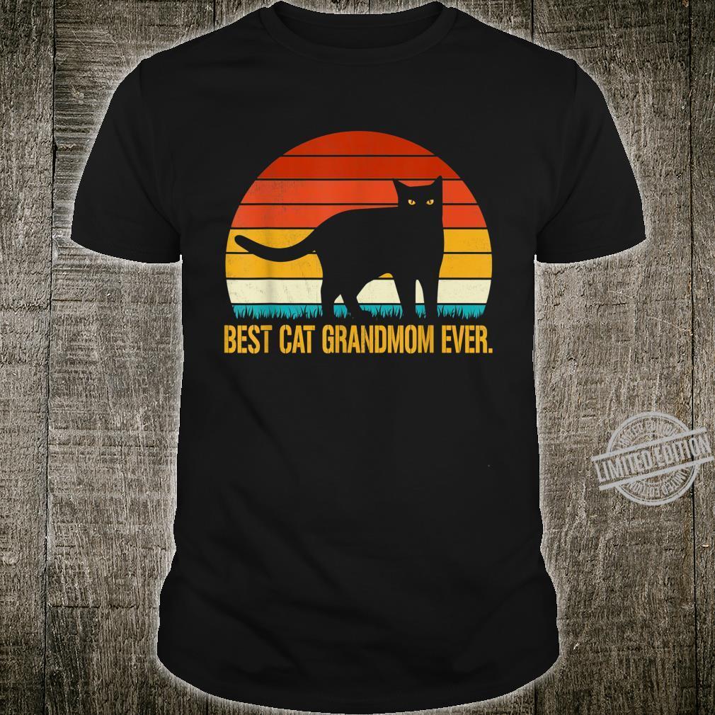 Best Cat Grandmom Ever Shirt Vintage Retro Cat Shirt