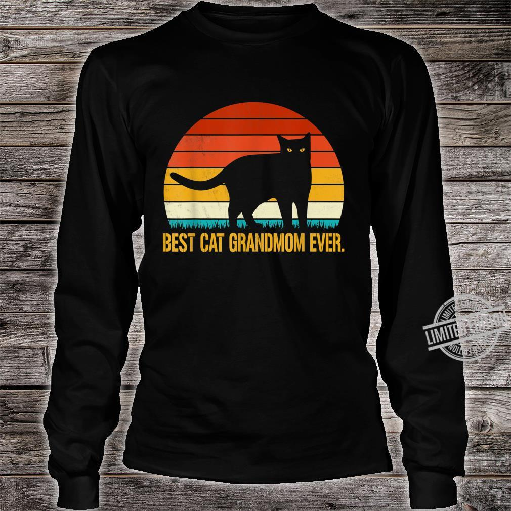 Best Cat Grandmom Ever Shirt Vintage Retro Cat Shirt long sleeved